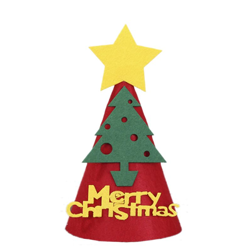 Non-woven Kids Christmas Hat Felt Cloth Children Cartoon Hat Xmas Party Supplies 72XC