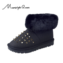 2019 New Shoes woman Winter Rivet Short Tube Women Boots Winter Thick Snow Boots Plus Velvet FLat Boots woman rivet shoes woman цены онлайн