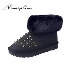 2019 New Shoes woman Winter Rivet Short Tube Women Boots Thick Snow Plus Velvet FLat rivet shoes