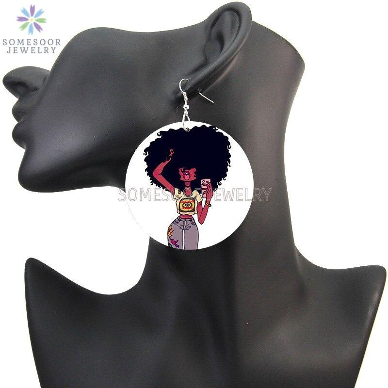 Купить somesoor афро повороты натуральных волос деревянные серьги в