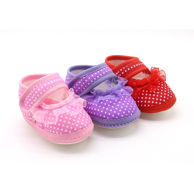 Cute Baby Girls First Walkers Toddler Bowknot Mesh Flower Footwear Cloth Soft Sole First Walkers Shoes 07