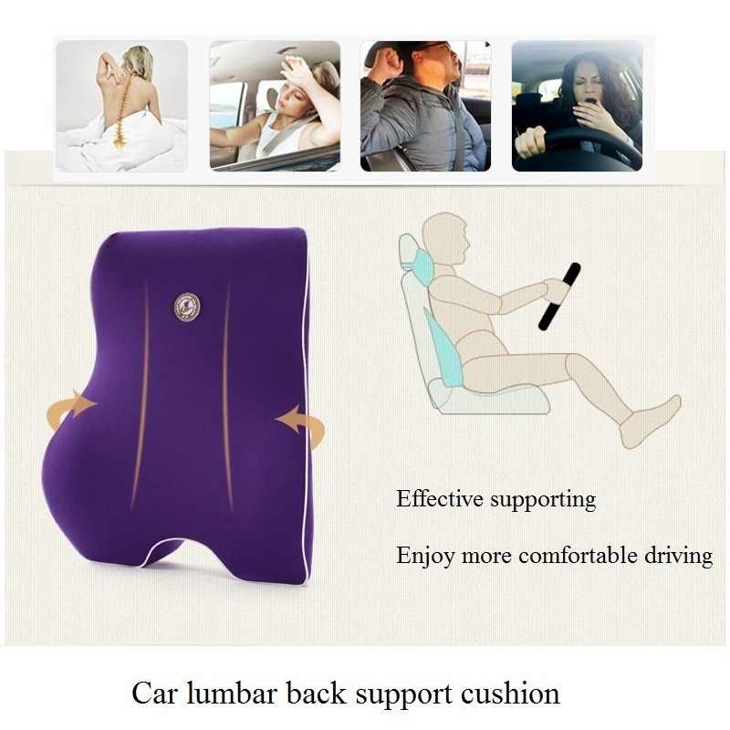 Car Seat Lumbar Support Office Chair Low Back Cushion Pillow Waist Protection Memory Cotton Black Car Product Posture Correction