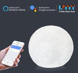 WiFi Smart Moon lampa biurkowa lampa współpracuje z Alexa Google Home sterowanie głosem dotknij Touch LED light Kids sypialnia Sleeping Nightlight w Oświetlenie nocne LED od Lampy i oświetlenie na