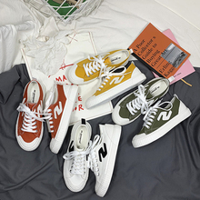 Famous canvas shoes female students 2019 summer new ins wild Korean street shooting white elegant casual