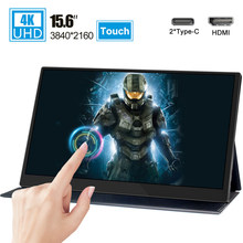 15.6 4K Type-C Touch Screen Draagbare Monitor Voor Ps4 Schakelaar Xbox Huawei Xiaomi Telefoon Gaming Monitor Laptop lcd Display(China)