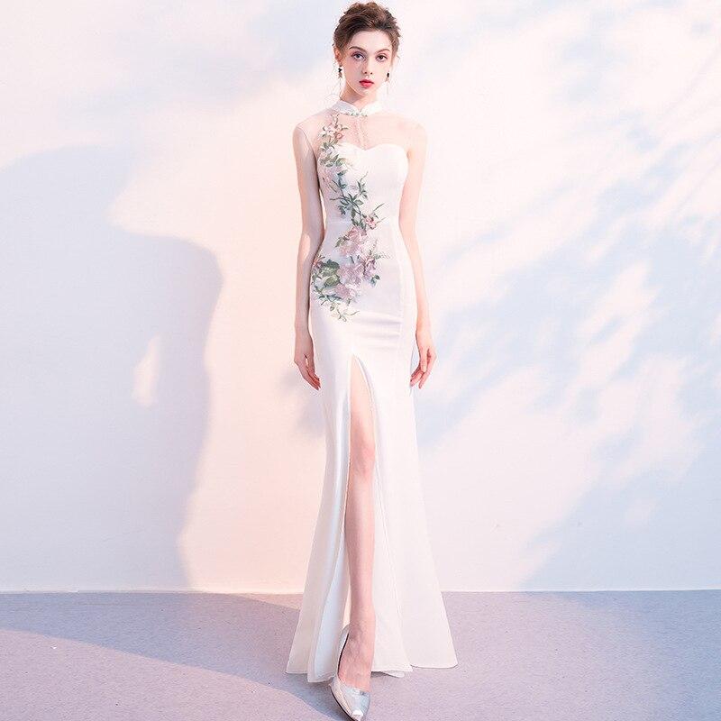 Rétro Sexy dentelle robe de soirée femmes queue de poisson Cheongsam blanc sans manches longues robes creux élégant Maxi robe fille