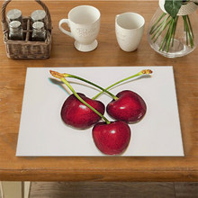 Cherry Fruit Printing Table Napkins for Wedding Party Cotton Pads Table Placemat Tableware Pad Mat Placemats for Table Bowl Pad(China)