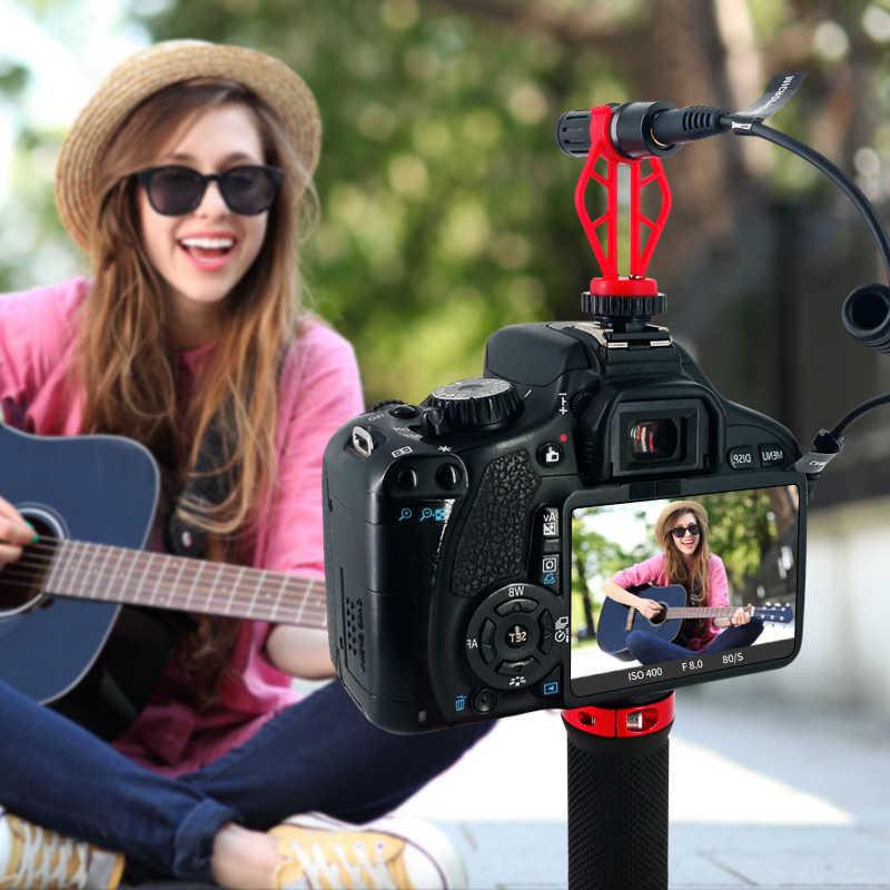 AIKSWE מיקרופון מיני נייד טלפון וידאו שיא 3.5mm DSLR מצלמה וטלפון Youtube Vlogging מיקרופון עבור iPhone סמסונג מיקרופון