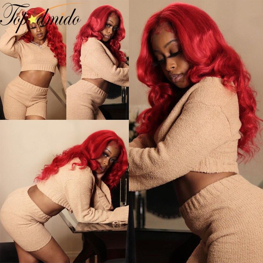 Topodmido 13x6 красный цвет кружевной передний парик с детскими волосами свободные волнистые бразильские волосы Remy кружевные передние человечес...