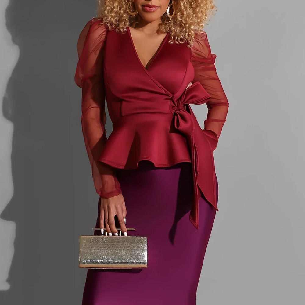 V ネックチュニックペプラムセクシーな女性ブラウスメッシュ薄手の透明長袖フリルトップス秋秋の女性のナイトクラブのパーティーシャツ