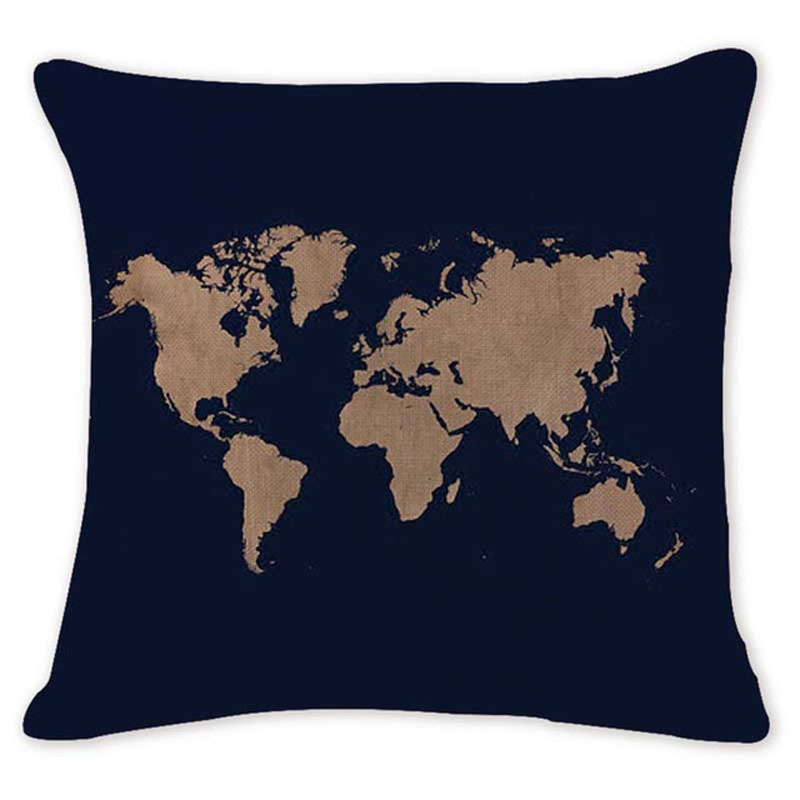 Map of the World Throw Pillow Covers
