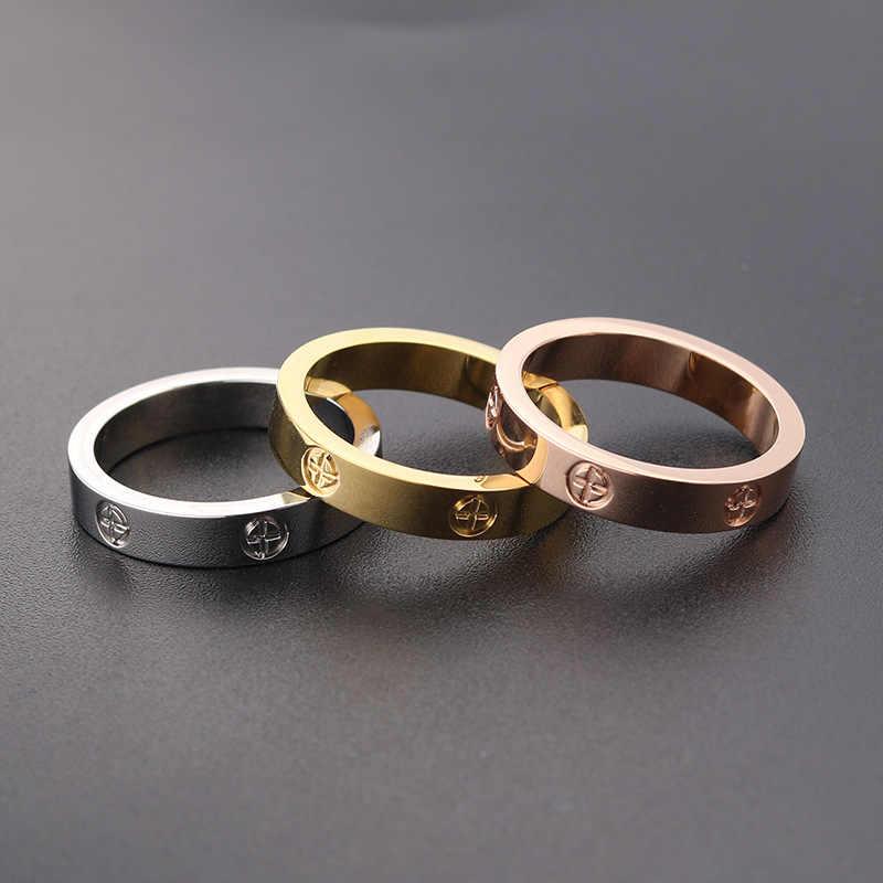 สแตนเลสสตีล Rose Gold แหวนแฟชั่นผู้หญิง Zircon Silver Love แหวนผู้หญิงแหวนสกรูคู่ผู้ชายแหวนหมั้นแหวน