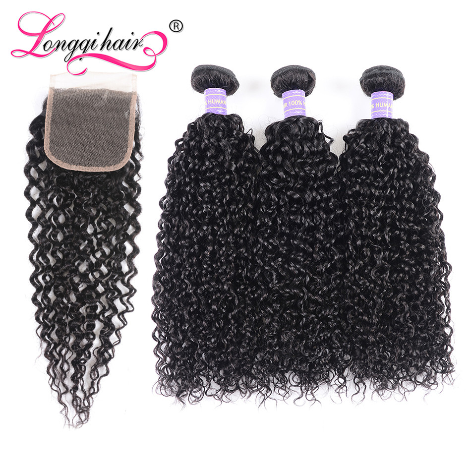 Longqi High Ratio Brazilian Curly Bundles With Closure 4x4 Lace Closure With Bundles 4pcs/lot Remy Human Hair For Black Women
