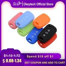 Okeytech conjunto de capa de chave de carro, de borracha de silicone para audi a2 a3 a4 a6 a8 tt escudo dobrável para reparo remoto