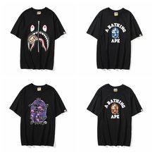 Logotipo popular japonês tubarão camuflagem homem manga curta camiseta amantes lazer parágrafo curto japonês impressão meia manga t