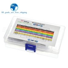 600PCS/LOT 1/4W Metal Film Resistor Kit 1% Resistor Assorted Kit Set 10 -1M Ohm hm Resistance Pack 30 Values each 20 pcs DIY KIT