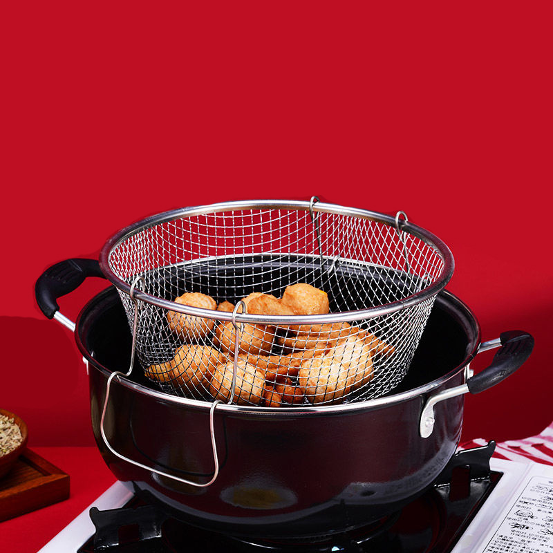 Deep-fried Pot Thick Soup Pot Small Fryer Home Induction Cooker Universal Pot With Grid Basket Frying Pan Non Stick Pan Cast