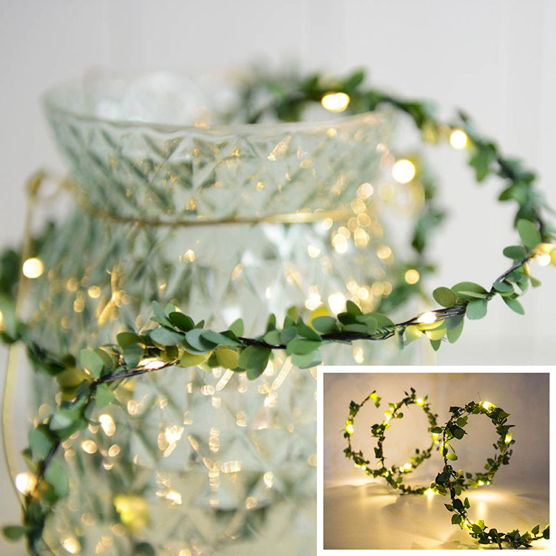 3/5/10/M LED Fairy String Lights Leaf Garland Copper Wire LED For Wedding Forest Table Christmas Party Creative Decor D35