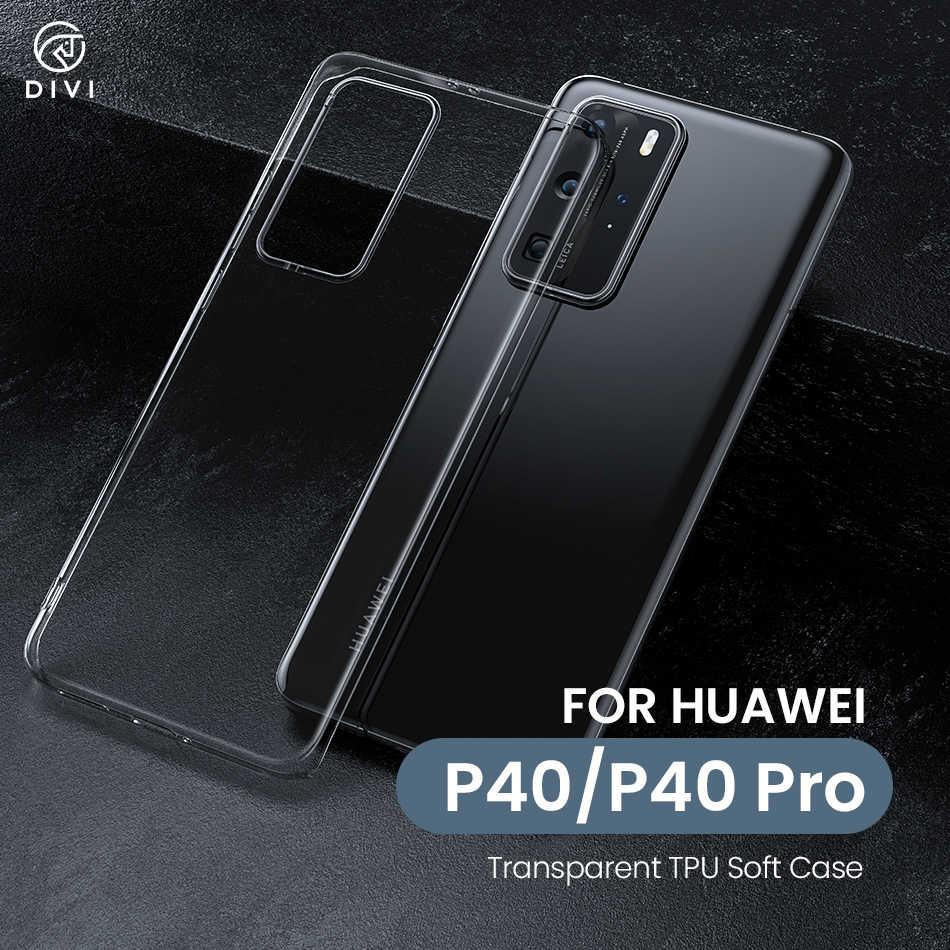 DIVI telefon kılıfı için Huawei P40/P40 Pro Ultra ince ince yumuşak TPU silikon kapaklı kılıf Huawei P40 serisi darbeye dayanıklı telefon kapak