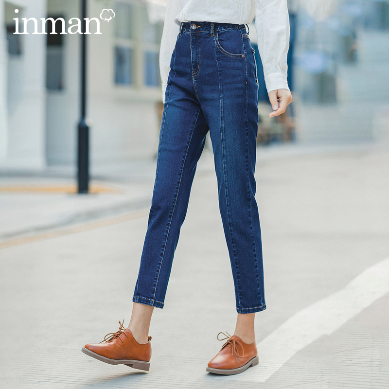 INMAN 2020 Spring New Arrival High Waist Slimmed Elastic Boound Feet Jeans