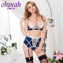 Ohyeahlover navy blue bra set with beigelace overlay exotic apparel sexy lingeri