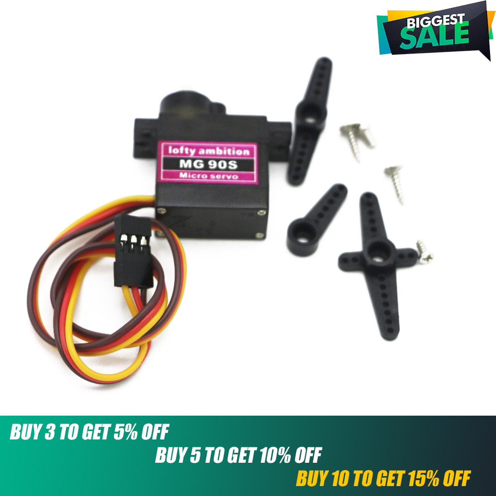 MG90S Servo,lofty Ambition MG90S 9g Metal Gear Digital Micro Servos Upgraded SG90 For Smart Vehicle Helicopter Boart Car