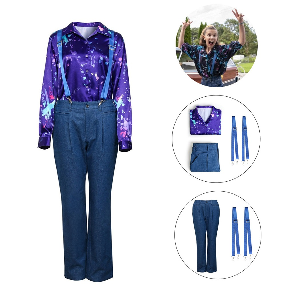 Eleven Cosplay Costume For Stranger Things Season 3 Long Sleeve   Printed Shirt Strap Pants Halloween Women Girls Party Costume