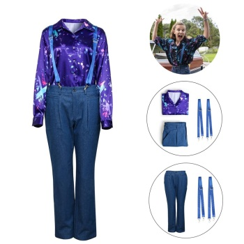 Eleven Cosplay Costume For Stranger Things Season 3 Long Sleeve Printed Shirt Strap Pants Halloween Women Girls Party Costume недорого