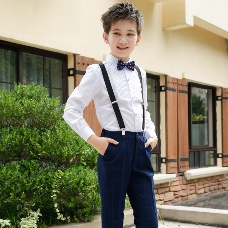 Kids Boys' Suit Tuxedo With No Tail Blazer & Pants 2 Pieces Sets Formal Pinstripe Boys Suits For Wedding Party Buningur Straka