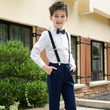 Boys'-Suit Tuxedo No with No-Tail Blazer--Pants 2pieces-Sets Formal Pinstripe Wedding