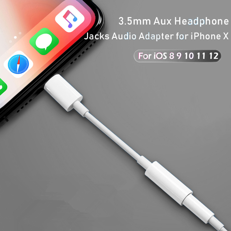 For Lightning To 3.5mm Aux Headphone Jacks Audio Adapter For Iphone X 7 8 Plus 3.5mm Audio USB Headphone Converter Phone Adapter