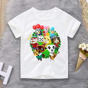 Hot 2020 Animal Crossing Print Cute Cartoon T-shirt Kids Summer O-Neck Tops Boys & Girls T Shirt Children Baby Funny Clothes kids t shirt funny boys clothes cartoon game print t shirt costume boys t shirt girls summer kids clothes t shirt children shirt