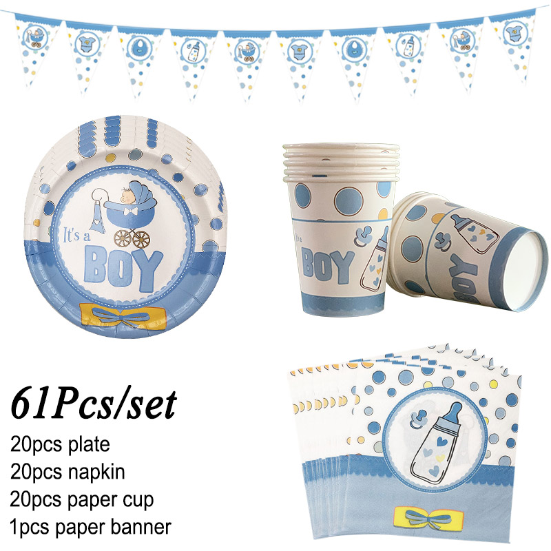 61Pcs/set Baby Shower Tableware Sets Paper Plate Cup Birthday Party Girl Boy Baby Shower Decoration Favors Gender Reveal