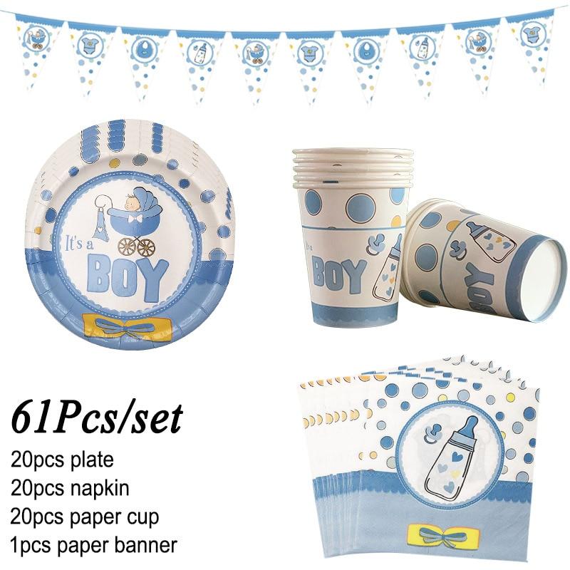 61Pcs/set Baby Shower Tableware…