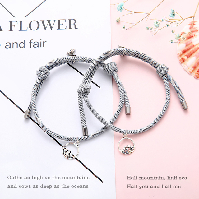 MKENDN Hot Sale 2Pcs/Set 925 Sterling Silver Magnetic Clasp Couple Attraction Rope Men&Women Creative Jewelry Best friend Gift 2
