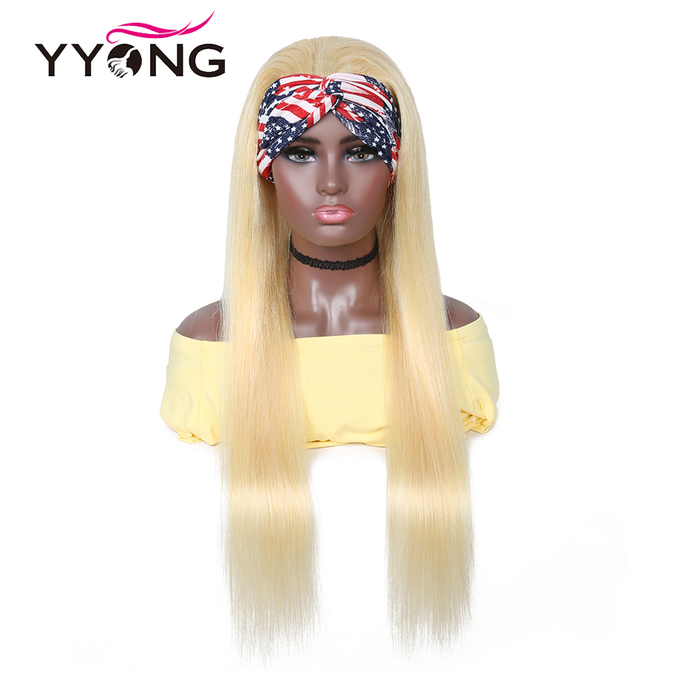 Yyong 28 30inch 613# Headband  Wigs  Honey Blond   Straight Headband Wigs Can be Colored 1
