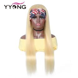 Yyong 28 30 pouces 613 # bandeau perruques de cheveux humains pour les femmes noires miel Blond Remy brésilien droit bandeau perruques peuvent être colorées
