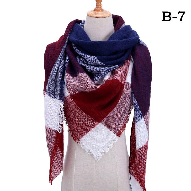 Женский зимний шарф в ретро стиле, кашемировые вязаные пашмины шали, женские мягкие треугольные шарфы, бандана, теплое одеяло, новинка - Цвет: bb7