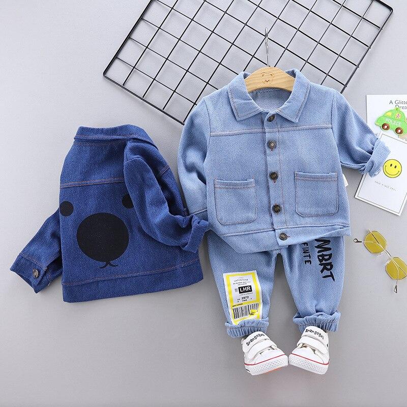 Baby Boy Clothes New Denim Clothing Two-piece Baby Casual Cartoon Print Denim Clothing Baby Boy Clothes Denim Cardigan Suit