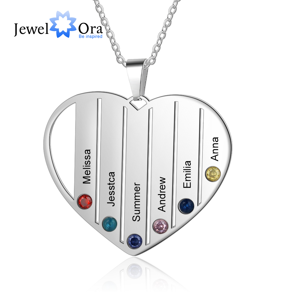 Personalized Jewelry Customized 6 Names Family Heart Necklace DIY Birthstones Stainless Steel Necklaces For Women (NE103422)
