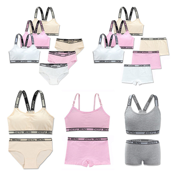 5Sets/Lot Puberty Young Girls Bra And Panties Sets Teenage Girls Cotton Padded Vest Training Bra Teen Sport Underwear 8-18 Years hot selling fashion young developmental girls cotton training bra high quality wire free padded children summer soprts bra