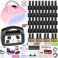 Set di unghie Kit per unghie in acrilico set di gel per unghie in poli estensione Semi permanente con lampada UV set di strumenti per unghie per asciugatura unghie e trapano per unghie