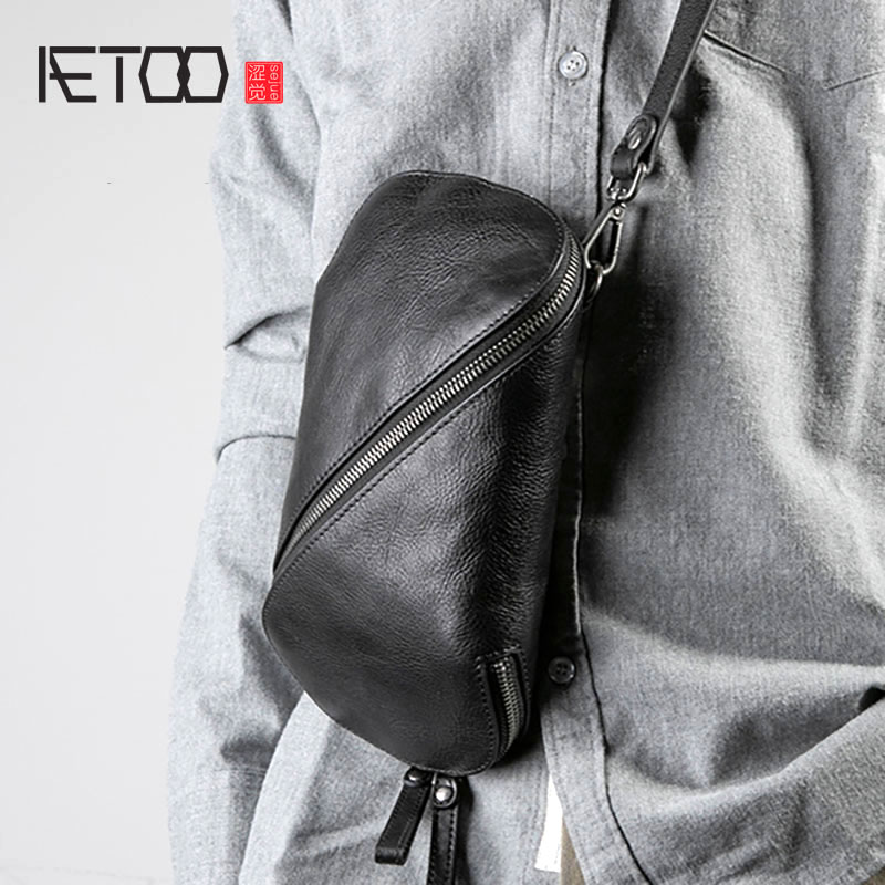 AETOO Leather Men's Bags, Head Leather One-shoulder Bags, Casual Men's Slanted Bags, Personality Trend Small Bags