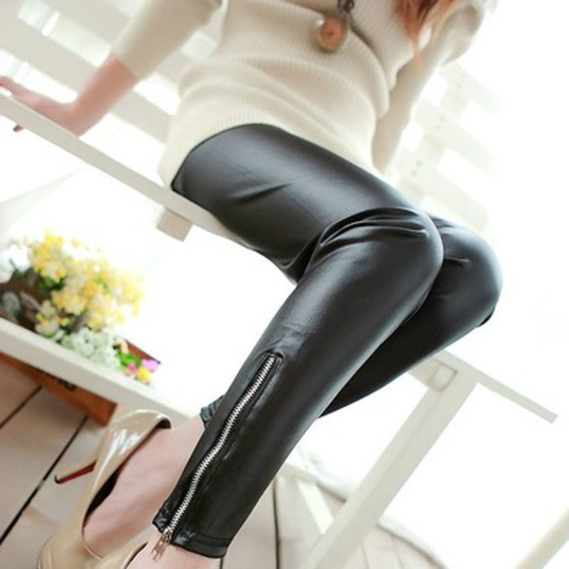 VISNXGI High Waist Leather Leggings Women Black Fitness PU Legging Sexy Skinny Push Up Slim Pant Elastic Ladies Stretch Trousers