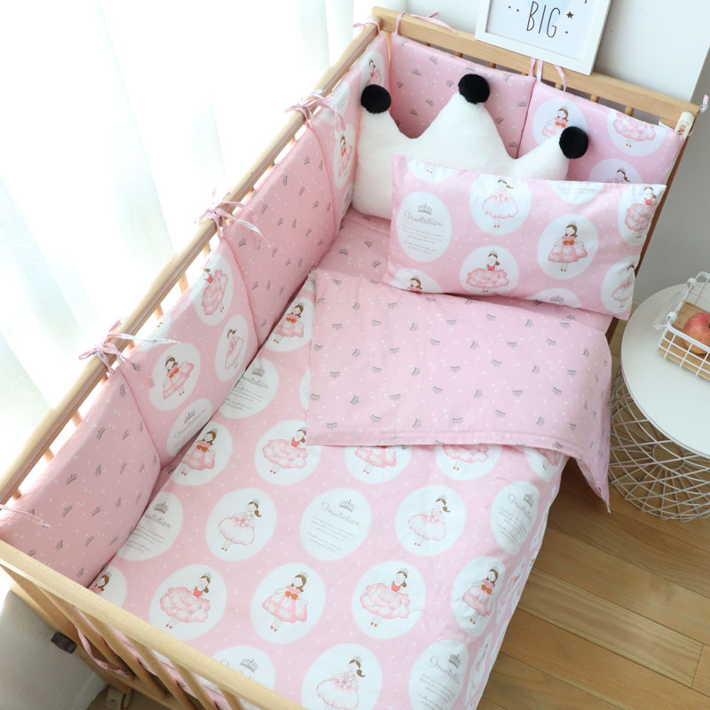 Baby Bedding Set Cartoon Soft Woven Cotton Bed Linen For Kids Crib Bedding With Bumper For Boys Girls Baby Nursery Decor