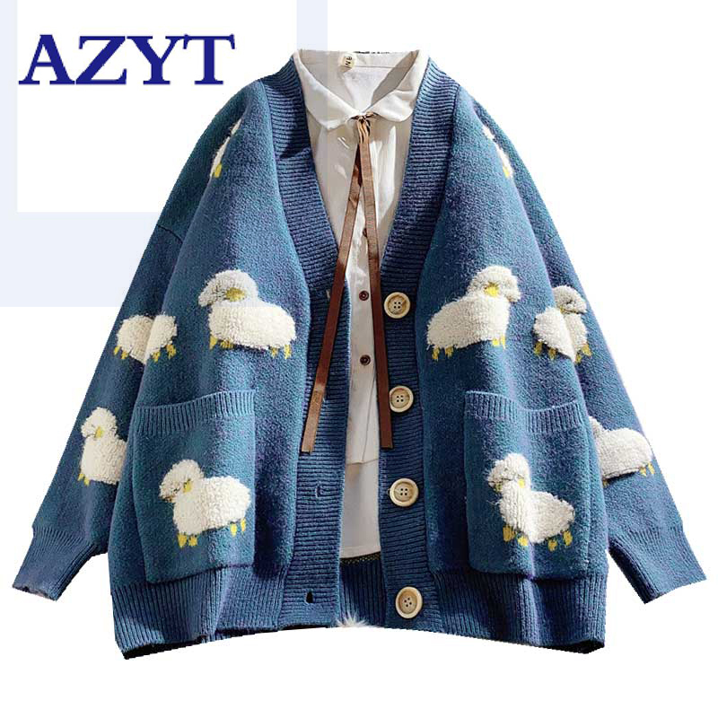 2020 Autumn New Knit Female Cardigan Loose Streetwear Knit Sweater Coat Cute Cartoon Print V Neck knitted cardigan Women Jacket(China)