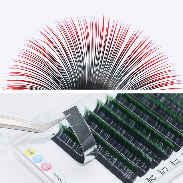 GLAMLASH Gradient Red Green Blue Purple Color Eyelash Extension Individual Faux Mink Ombre False Eye colored Lashes Makeup Tool 4