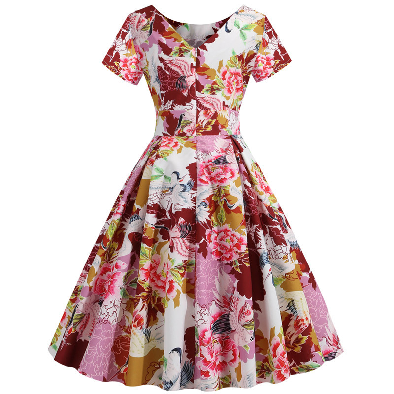 Summer Floral Print Elegant A-line Party Dress Women Slim White Short Sleeve Swing Pin up Vintage Dresses Plus Size Robe Femme 228