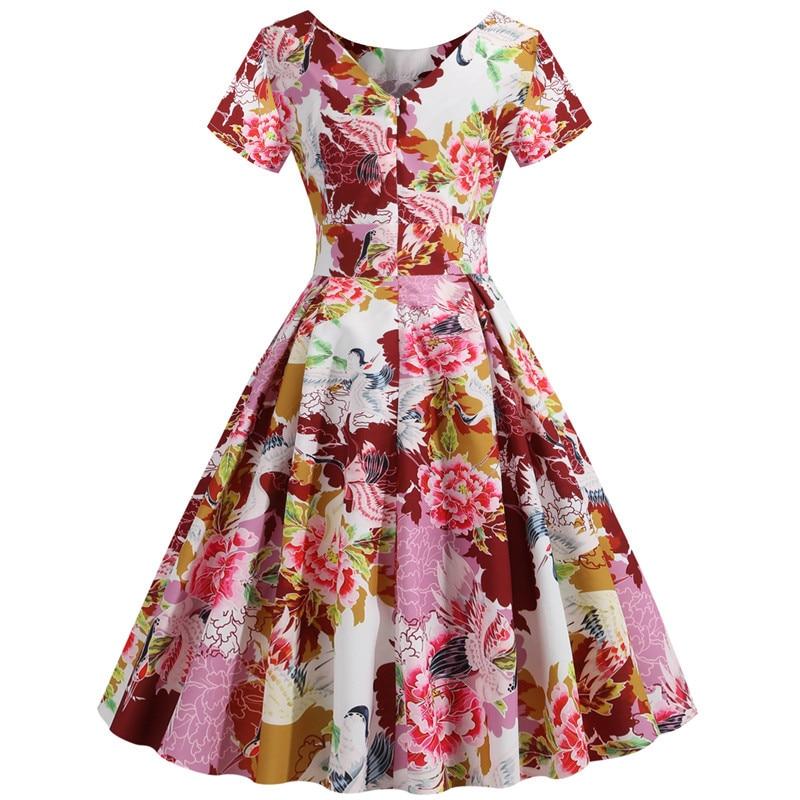 Summer Floral Print Elegant A-line Party Dress Women Slim White Short Sleeve Swing Pin up Vintage Dresses Plus Size Robe Femme 77