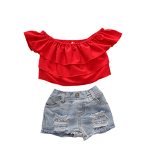 toddler girl clothes red crop top and short sets girls boutique outfits kids clothing